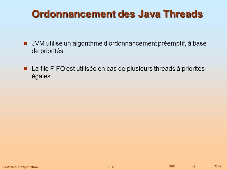 6.38 URDL22005 Systèmes dexploitation Ordonnancement des Java Threads JVM utilise un algorithme dordonnancement préemptif, à base de priorités La file FIFO est utilisée en cas de plusieurs threads à priorités égales