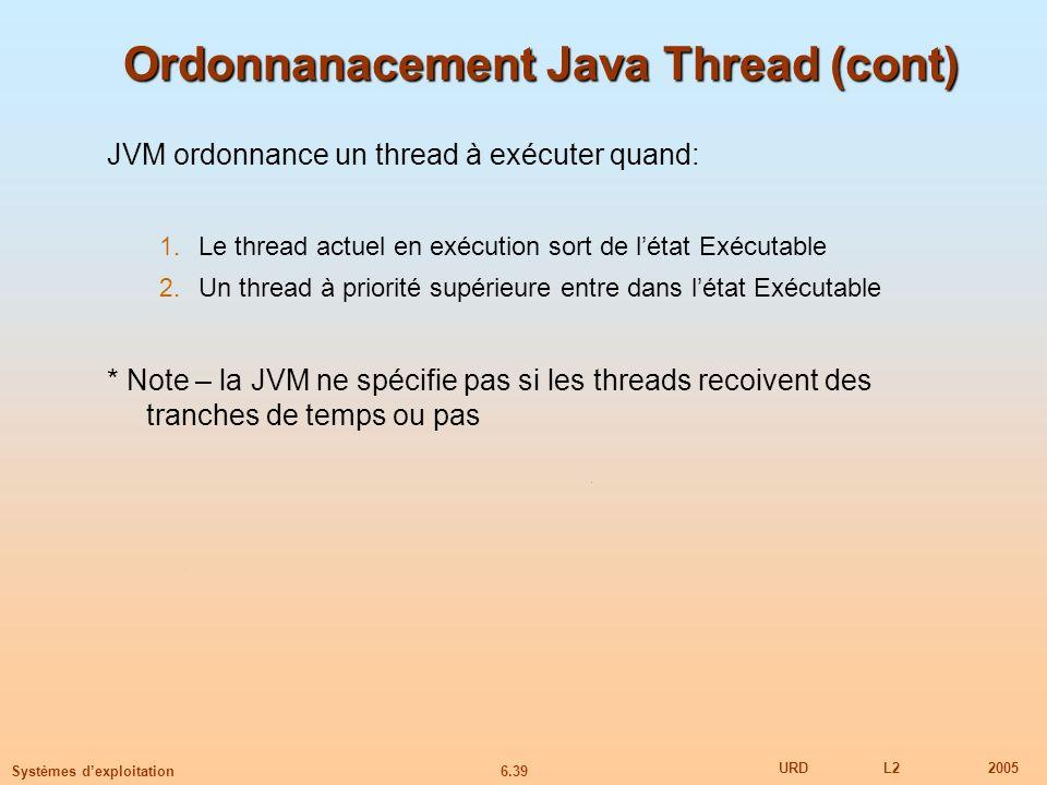 6.39 URDL22005 Systèmes dexploitation Ordonnanacement Java Thread (cont) JVM ordonnance un thread à exécuter quand: 1.