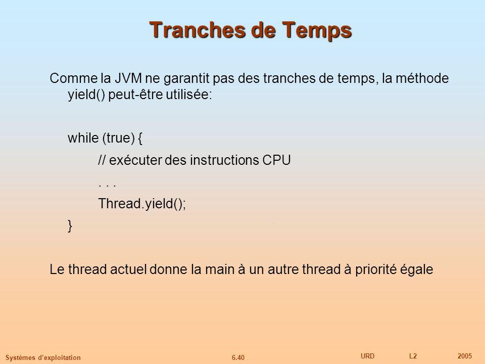 6.40 URDL22005 Systèmes dexploitation Tranches de Temps Comme la JVM ne garantit pas des tranches de temps, la méthode yield() peut-être utilisée: while (true) { // exécuter des instructions CPU...
