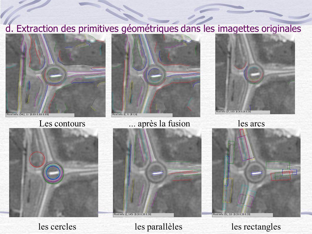d. Extraction des primitives géométriques dans les imagettes originales Les contours...