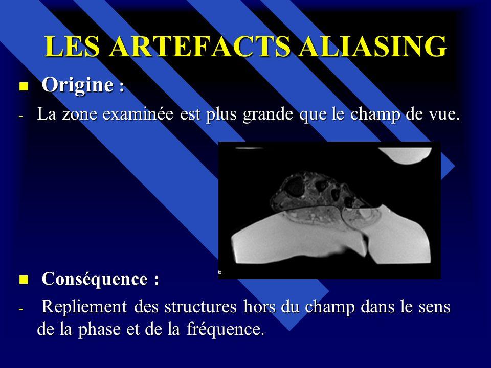 LES ARTEFACTS ALIASING Origine : Origine : - La zone examinée est plus grande que le champ de vue. Conséquence : Conséquence : - Repliement des struct