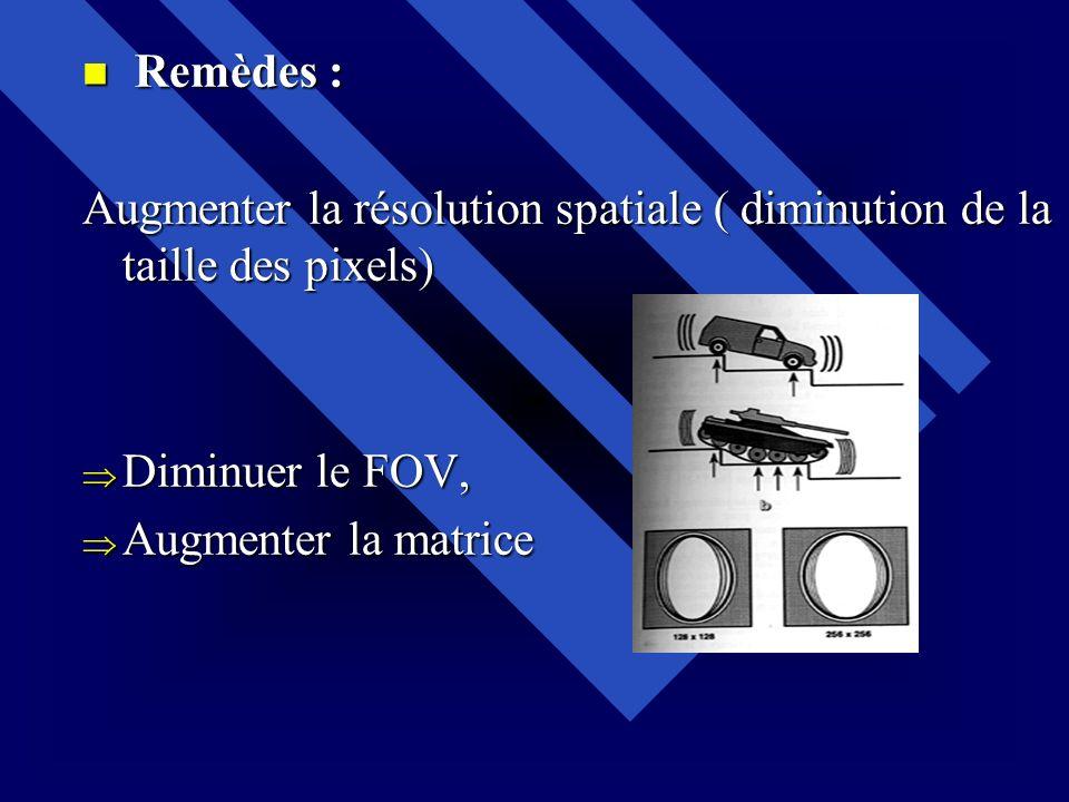 Remèdes : Remèdes : Augmenter la résolution spatiale ( diminution de la taille des pixels) Diminuer le FOV, Diminuer le FOV, Augmenter la matrice Augm
