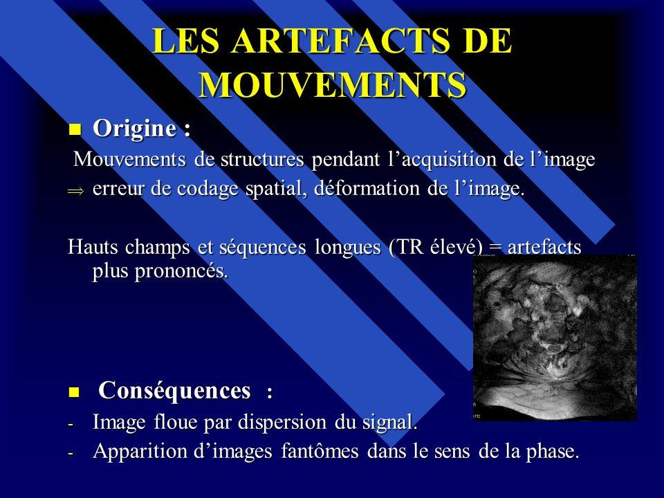 LES ARTEFACTS DE MOUVEMENTS Origine : Origine : Mouvements de structures pendant lacquisition de limage Mouvements de structures pendant lacquisition