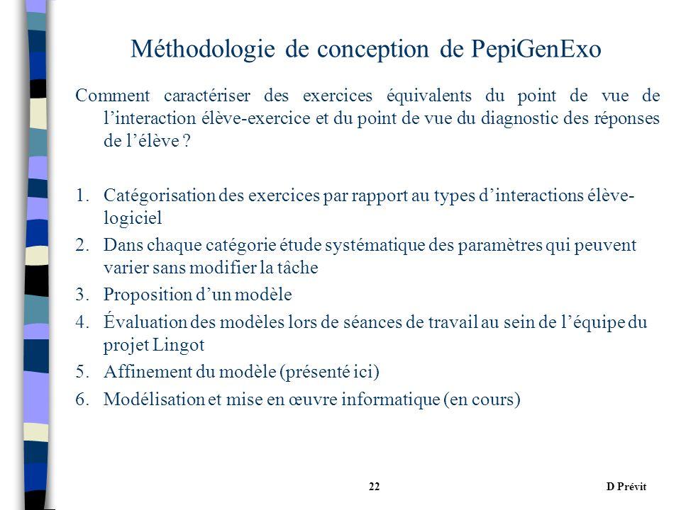 D Prévit22 Méthodologie de conception de PepiGenExo Comment caractériser des exercices équivalents du point de vue de linteraction élève-exercice et du point de vue du diagnostic des réponses de lélève .