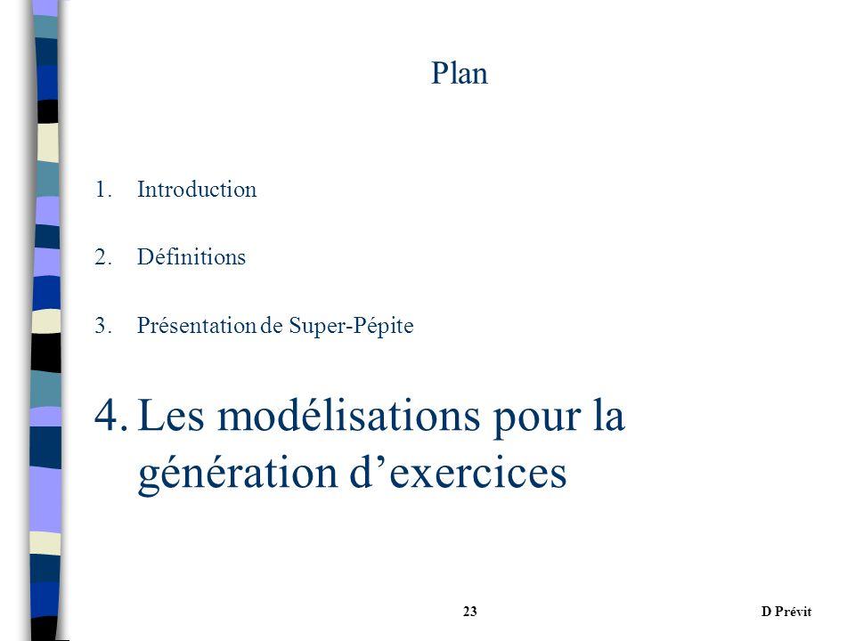 D Prévit23 Plan 1.Introduction 2.Définitions 3.Présentation de Super-Pépite 4.Les modélisations pour la génération dexercices