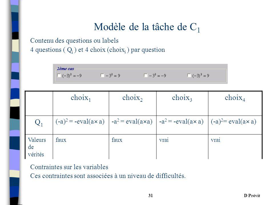 D Prévit31 Modèle de la tâche de C 1 Contenu des questions ou labels 4 questions ( Q i ) et 4 choix (choix i ) par question Contraintes sur les variables Ces contraintes sont associées à un niveau de difficultés.