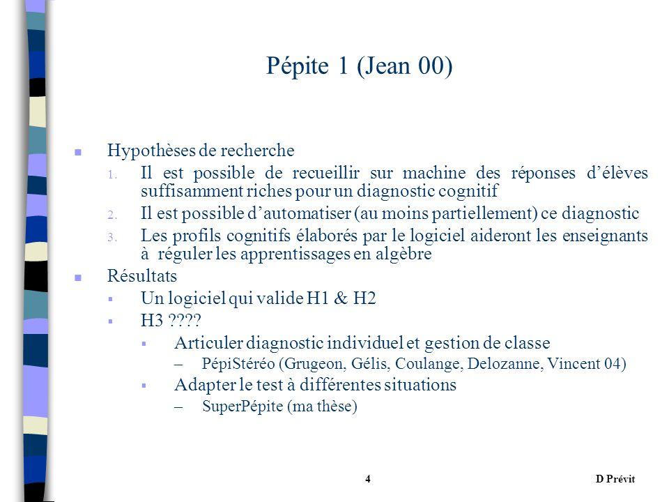 D Prévit4 Pépite 1 (Jean 00) n Hypothèses de recherche 1.