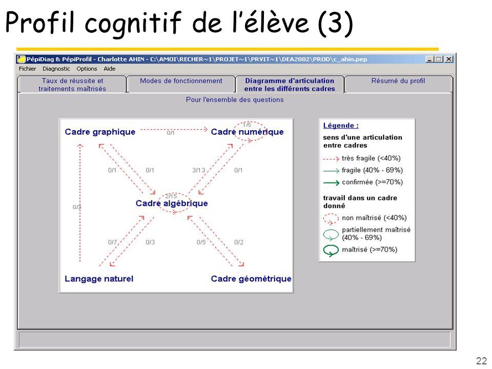 22 Profil cognitif de lélève (3)