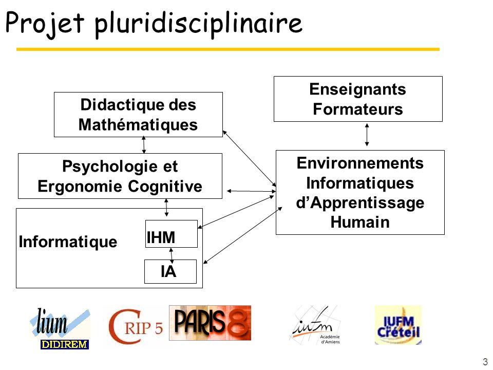 3 Projet pluridisciplinaire IA Didactique des Mathématiques Environnements Informatiques dApprentissage Humain Psychologie et Ergonomie Cognitive IHM Informatique Enseignants Formateurs