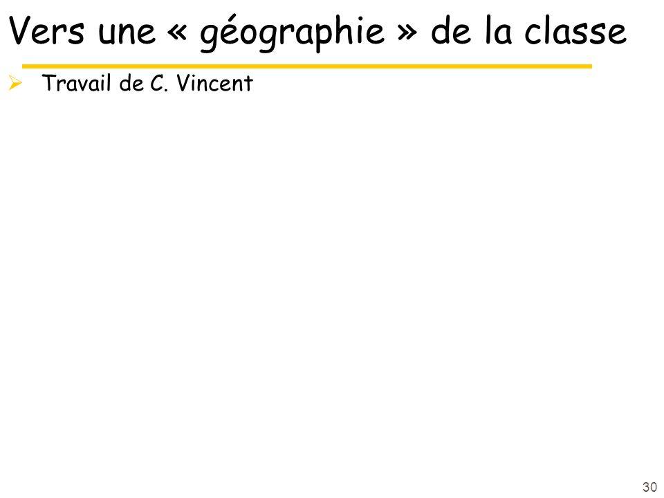 30 Vers une « géographie » de la classe Travail de C. Vincent