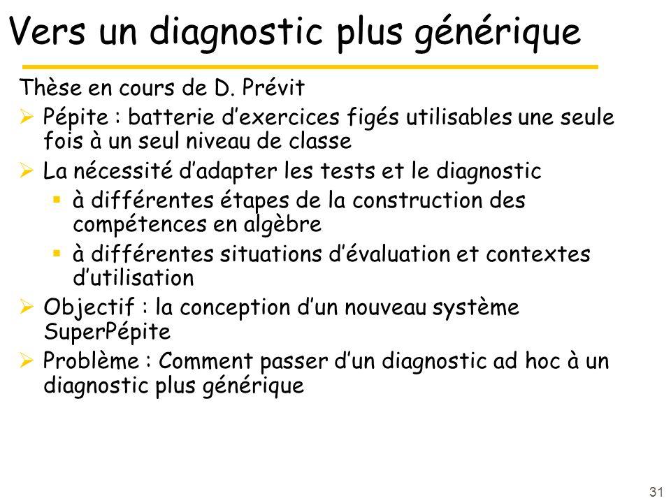 31 Vers un diagnostic plus générique Thèse en cours de D.