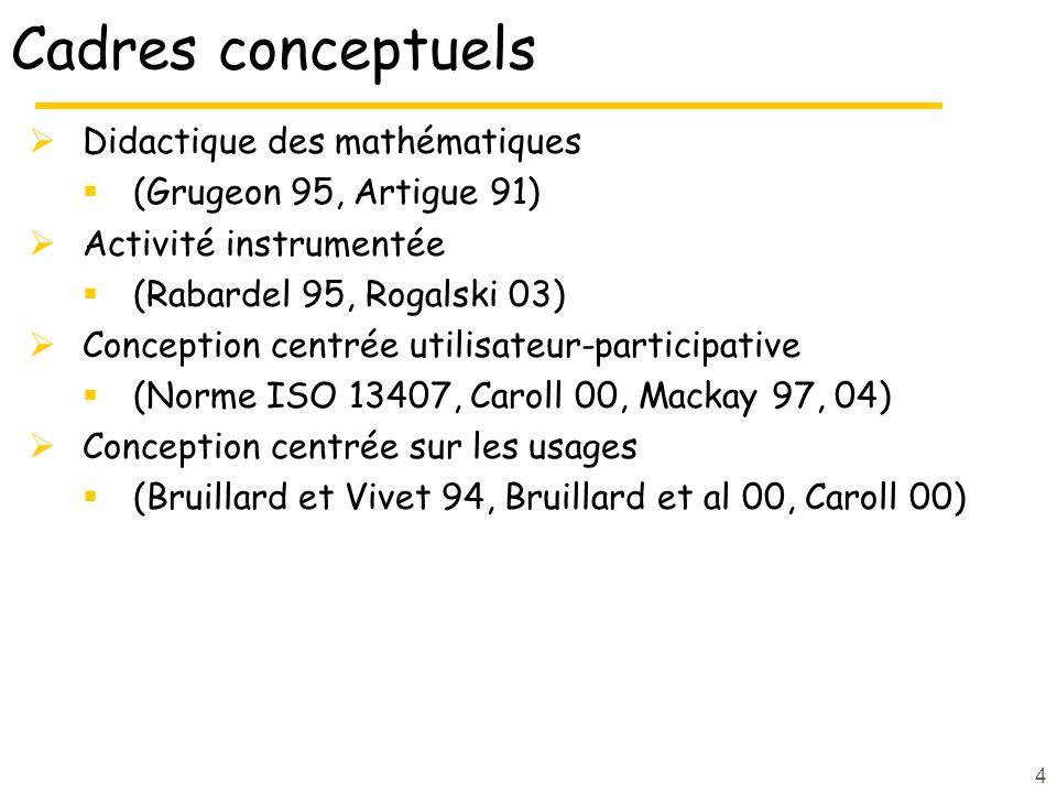 4 Cadres conceptuels Didactique des mathématiques (Grugeon 95, Artigue 91) Activité instrumentée (Rabardel 95, Rogalski 03) Conception centrée utilisateur-participative (Norme ISO 13407, Caroll 00, Mackay 97, 04) Conception centrée sur les usages (Bruillard et Vivet 94, Bruillard et al 00, Caroll 00)
