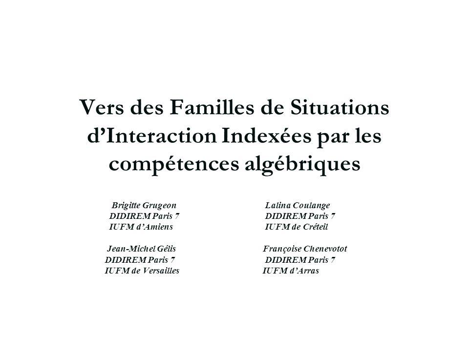 Vers des Familles de Situations dInteraction Indexées par les compétences algébriques Brigitte Grugeon Lalina Coulange DIDIREM Paris 7 DIDIREM Paris 7