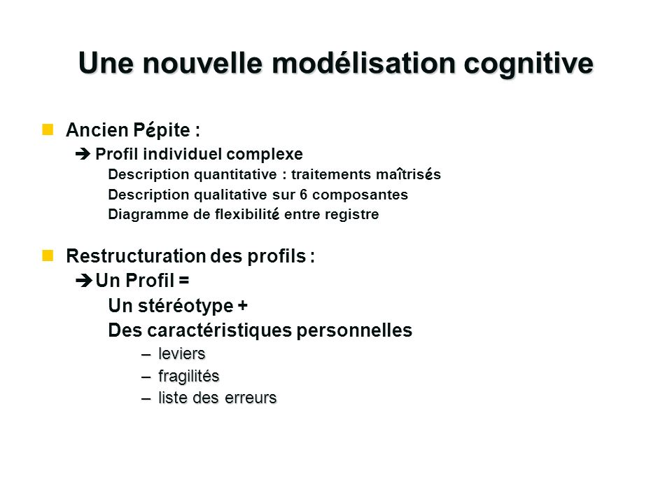 Une nouvelle modélisation cognitive Ancien P é pite : èProfil individuel complexe Description quantitative : traitements ma î tris é s Description qua