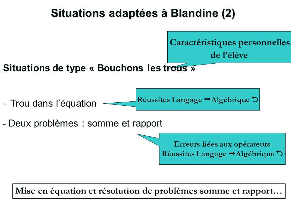 Situations adaptées à Blandine (2) Caractéristiques personnelles de lélève Situations de type « Bouchons les trous » Mise en équation et résolution de