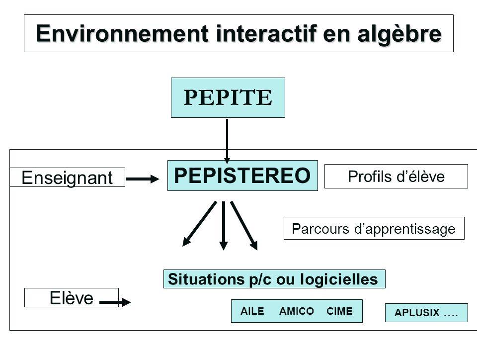 Environnement interactif en algèbre PEPITE PEPISTEREO Elève Enseignant Profils délève Situations p/c ou logicielles AILE AMICO CIME APLUSIX …. Parcour