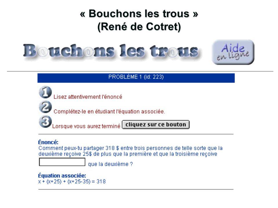 « Bouchons les trous » (René de Cotret)