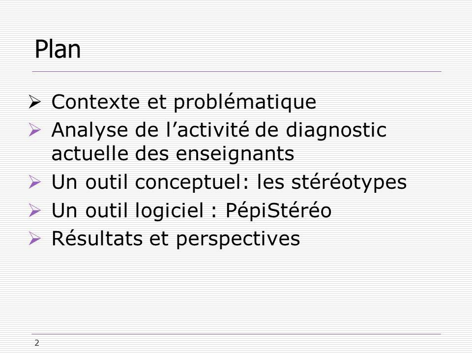 2 Plan Contexte et problématique Analyse de lactivité de diagnostic actuelle des enseignants Un outil conceptuel: les stéréotypes Un outil logiciel :