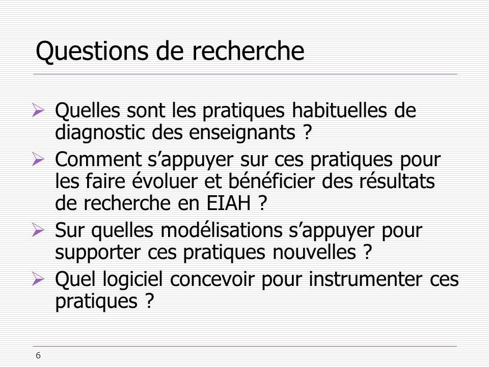 6 Questions de recherche Quelles sont les pratiques habituelles de diagnostic des enseignants ? Comment sappuyer sur ces pratiques pour les faire évol