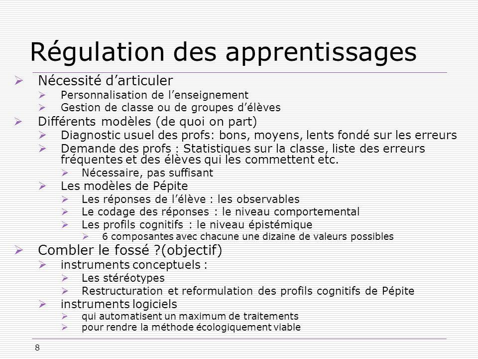 8 Régulation des apprentissages Nécessité darticuler Personnalisation de lenseignement Gestion de classe ou de groupes délèves Différents modèles (de