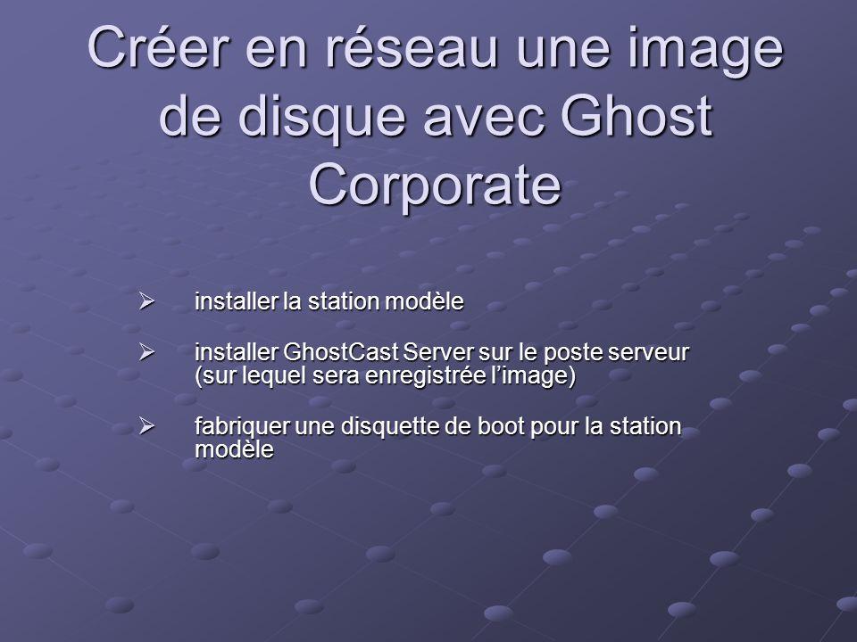 Créer en réseau une image de disque avec Ghost Corporate installer la station modèle installer la station modèle installer GhostCast Server sur le pos