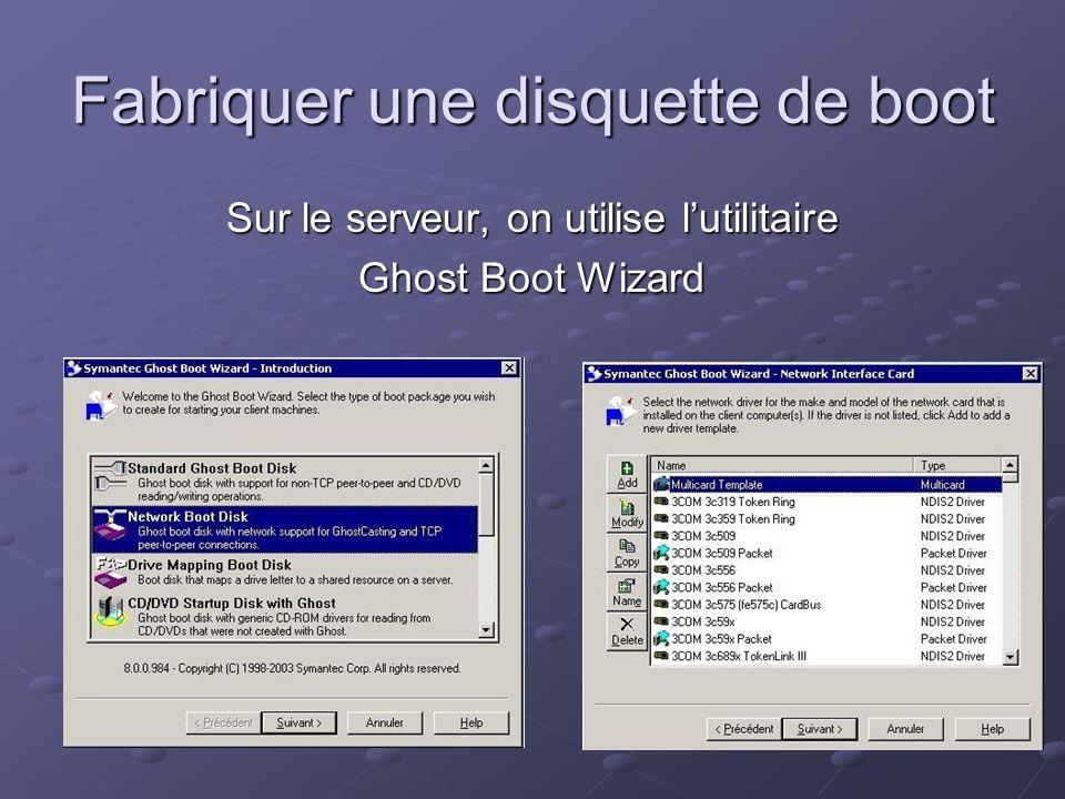 Fabriquer une disquette de boot Sur le serveur, on utilise lutilitaire Ghost Boot Wizard