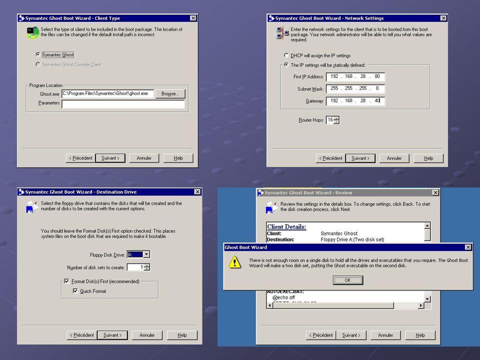 Sur le serveur : Lancer GhostCast Server Remplir les champs nécessaires, puis cliquer sur le bouton « Accept Clients » Retenir le « session name » .