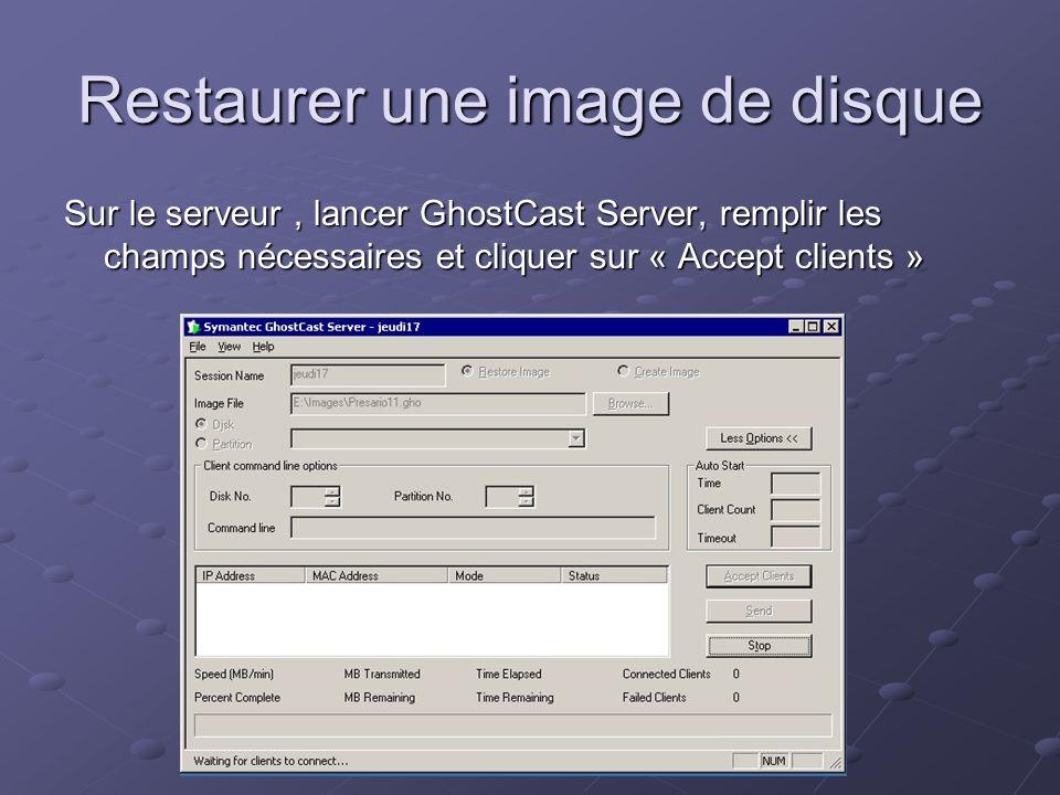 Sur la station modèle : Démarrer lordinateur avec la disquette de boot Démarrer lordinateur avec la disquette de boot Lancer Ghost.exe Lancer Ghost.exe Choisir « GhostCast », « Multicast », Taper le nom de session (le même que sur le serveur) et lIP du serveur, sélectionner le disque de destination Choisir « GhostCast », « Multicast », Taper le nom de session (le même que sur le serveur) et lIP du serveur, sélectionner le disque de destination Sur le serveur : Lorsque lordinateur cible apparaît, lancer la restauration dimage en cliquant sur le bouton « Send » Lorsque lordinateur cible apparaît, lancer la restauration dimage en cliquant sur le bouton « Send »