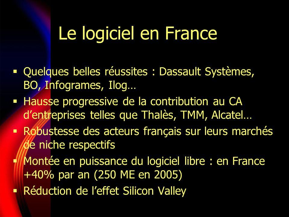 Le logiciel en France Quelques belles réussites : Dassault Systèmes, BO, Infogrames, Ilog… Hausse progressive de la contribution au CA dentreprises telles que Thalès, TMM, Alcatel… Robustesse des acteurs français sur leurs marchés de niche respectifs Montée en puissance du logiciel libre : en France +40% par an (250 ME en 2005) Réduction de leffet Silicon Valley