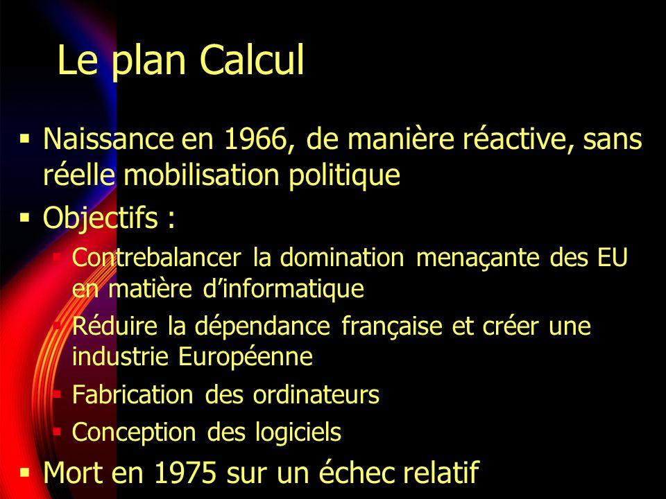 Le plan Calcul Naissance en 1966, de manière réactive, sans réelle mobilisation politique Objectifs : Contrebalancer la domination menaçante des EU en matière dinformatique Réduire la dépendance française et créer une industrie Européenne Fabrication des ordinateurs Conception des logiciels Mort en 1975 sur un échec relatif