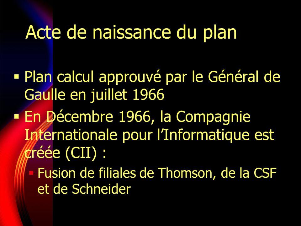 Acte de naissance du plan Plan calcul approuvé par le Général de Gaulle en juillet 1966 En Décembre 1966, la Compagnie Internationale pour lInformatique est créée (CII) : Fusion de filiales de Thomson, de la CSF et de Schneider