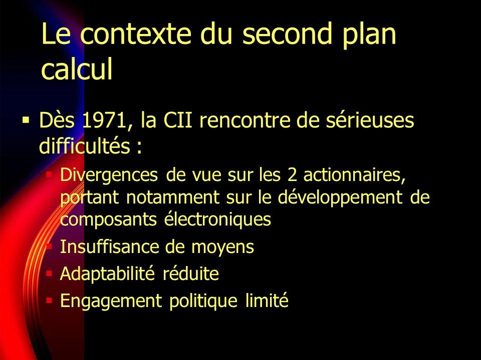 Le contexte du second plan calcul Dès 1971, la CII rencontre de sérieuses difficultés : Divergences de vue sur les 2 actionnaires, portant notamment sur le développement de composants électroniques Insuffisance de moyens Adaptabilité réduite Engagement politique limité