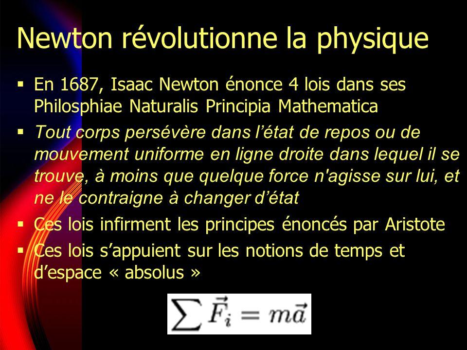 Newton révolutionne la physique En 1687, Isaac Newton énonce 4 lois dans ses Philosphiae Naturalis Principia Mathematica Tout corps persévère dans létat de repos ou de mouvement uniforme en ligne droite dans lequel il se trouve, à moins que quelque force n agisse sur lui, et ne le contraigne à changer détat Ces lois infirment les principes énoncés par Aristote Ces lois sappuient sur les notions de temps et despace « absolus »