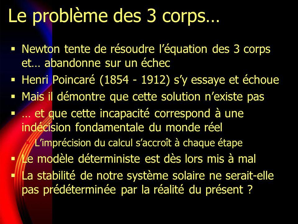 Le problème des 3 corps… Newton tente de résoudre léquation des 3 corps et… abandonne sur un échec Henri Poincaré (1854 - 1912) sy essaye et échoue Mais il démontre que cette solution nexiste pas … et que cette incapacité correspond à une indécision fondamentale du monde réel Limprécision du calcul saccroît à chaque étape Le modèle déterministe est dès lors mis à mal La stabilité de notre système solaire ne serait-elle pas prédéterminée par la réalité du présent ?