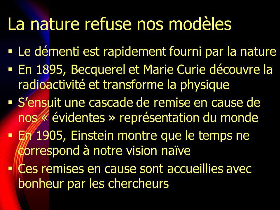 La nature refuse nos modèles Le démenti est rapidement fourni par la nature En 1895, Becquerel et Marie Curie découvre la radioactivité et transforme la physique Sensuit une cascade de remise en cause de nos « évidentes » représentation du monde En 1905, Einstein montre que le temps ne correspond à notre vision naïve Ces remises en cause sont accueillies avec bonheur par les chercheurs