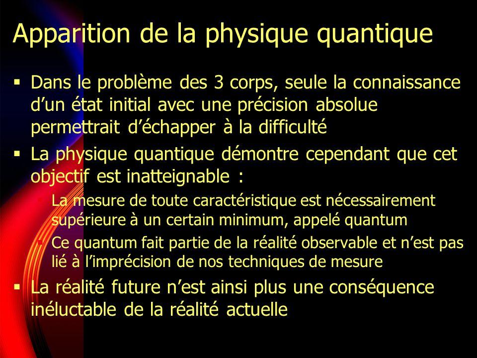 Apparition de la physique quantique Dans le problème des 3 corps, seule la connaissance dun état initial avec une précision absolue permettrait déchapper à la difficulté La physique quantique démontre cependant que cet objectif est inatteignable : La mesure de toute caractéristique est nécessairement supérieure à un certain minimum, appelé quantum Ce quantum fait partie de la réalité observable et nest pas lié à limprécision de nos techniques de mesure La réalité future nest ainsi plus une conséquence inéluctable de la réalité actuelle
