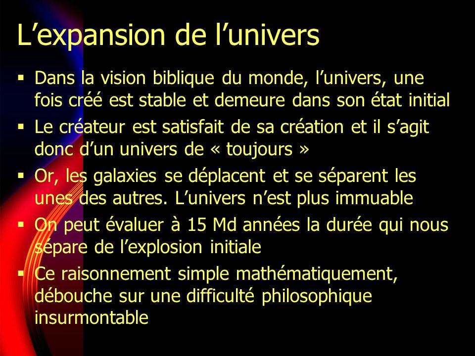 Lexpansion de lunivers Dans la vision biblique du monde, lunivers, une fois créé est stable et demeure dans son état initial Le créateur est satisfait de sa création et il sagit donc dun univers de « toujours » Or, les galaxies se déplacent et se séparent les unes des autres.