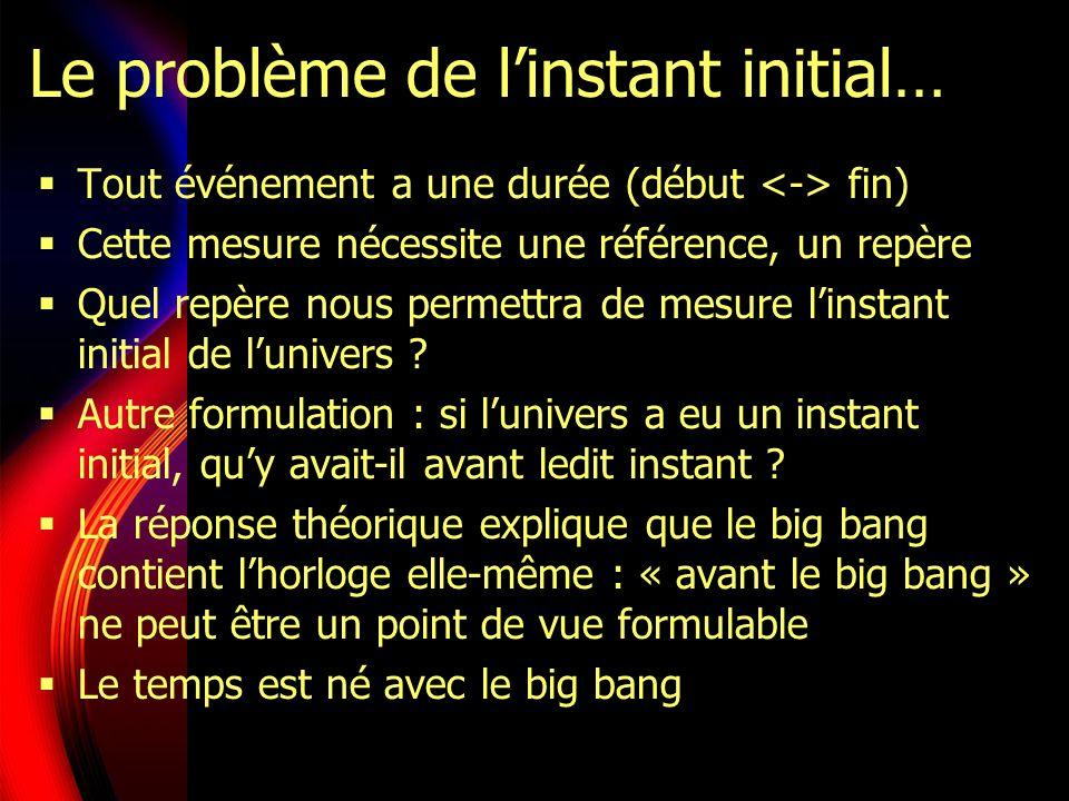 Le problème de linstant initial… Tout événement a une durée (début fin) Cette mesure nécessite une référence, un repère Quel repère nous permettra de mesure linstant initial de lunivers .