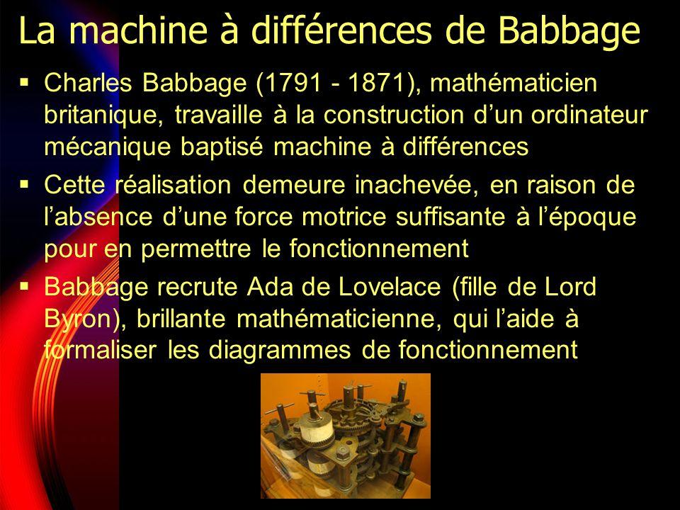 La machine à différences de Babbage Charles Babbage (1791 - 1871), mathématicien britanique, travaille à la construction dun ordinateur mécanique baptisé machine à différences Cette réalisation demeure inachevée, en raison de labsence dune force motrice suffisante à lépoque pour en permettre le fonctionnement Babbage recrute Ada de Lovelace (fille de Lord Byron), brillante mathématicienne, qui laide à formaliser les diagrammes de fonctionnement