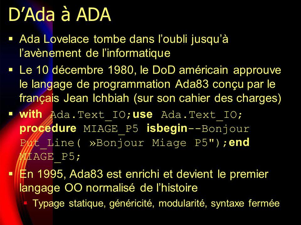DAda à ADA Ada Lovelace tombe dans loubli jusquà lavènement de linformatique Le 10 décembre 1980, le DoD américain approuve le langage de programmation Ada83 conçu par le français Jean Ichbiah (sur son cahier des charges) with Ada.Text_IO; use Ada.Text_IO; procedure MIAGE_P5 isbegin --Bonjour Put_Line( »Bonjour Miage P5 ); end MIAGE_P5; En 1995, Ada83 est enrichi et devient le premier langage OO normalisé de lhistoire Typage statique, généricité, modularité, syntaxe fermée