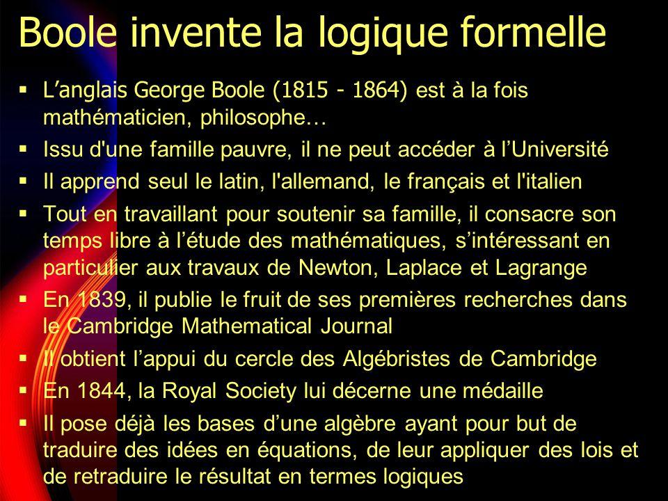 Boole invente la logique formelle Langlais George Boole (1815 - 1864) est à la fois mathématicien, philosophe… Issu d une famille pauvre, il ne peut accéder à lUniversité Il apprend seul le latin, l allemand, le français et l italien Tout en travaillant pour soutenir sa famille, il consacre son temps libre à létude des mathématiques, sintéressant en particulier aux travaux de Newton, Laplace et Lagrange En 1839, il publie le fruit de ses premières recherches dans le Cambridge Mathematical Journal Il obtient lappui du cercle des Algébristes de Cambridge En 1844, la Royal Society lui décerne une médaille Il pose déjà les bases dune algèbre ayant pour but de traduire des idées en équations, de leur appliquer des lois et de retraduire le résultat en termes logiques
