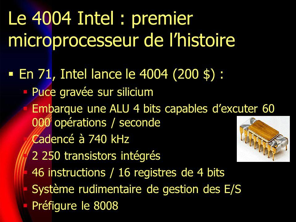 Le 4004 Intel : premier microprocesseur de lhistoire En 71, Intel lance le 4004 (200 $) : Puce gravée sur silicium Embarque une ALU 4 bits capables dexcuter 60 000 opérations / seconde Cadencé à 740 kHz 2 250 transistors intégrés 46 instructions / 16 registres de 4 bits Système rudimentaire de gestion des E/S Préfigure le 8008
