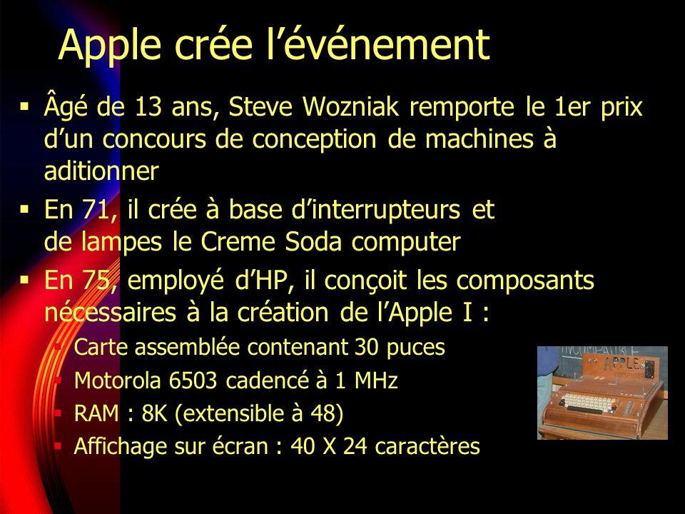 Apple crée lévénement Âgé de 13 ans, Steve Wozniak remporte le 1er prix dun concours de conception de machines à aditionner En 71, il crée à base dinterrupteurs et de lampes le Creme Soda computer En 75, employé dHP, il conçoit les composants nécessaires à la création de lApple I : Carte assemblée contenant 30 puces Motorola 6503 cadencé à 1 MHz RAM : 8K (extensible à 48) Affichage sur écran : 40 X 24 caractères