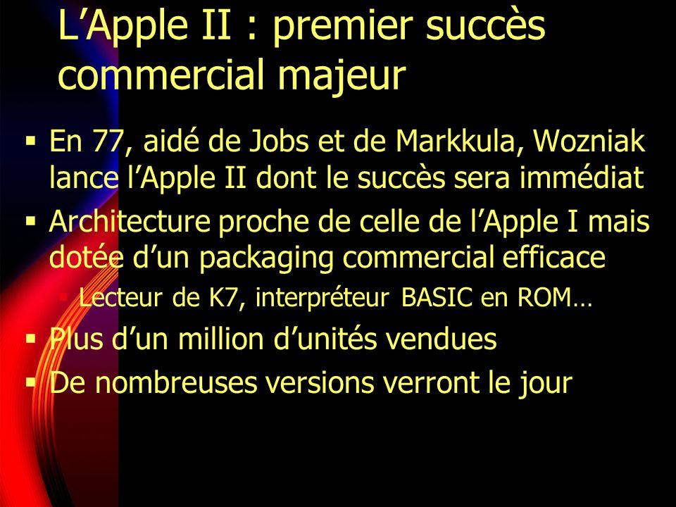 LApple II : premier succès commercial majeur En 77, aidé de Jobs et de Markkula, Wozniak lance lApple II dont le succès sera immédiat Architecture proche de celle de lApple I mais dotée dun packaging commercial efficace Lecteur de K7, interpréteur BASIC en ROM… Plus dun million dunités vendues De nombreuses versions verront le jour