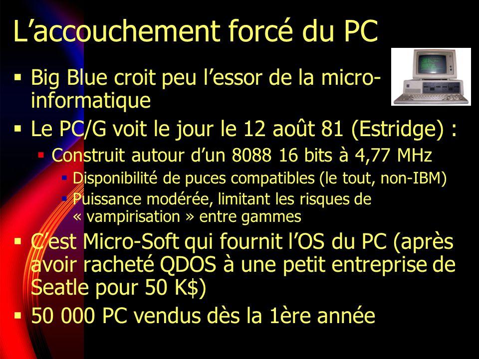 Laccouchement forcé du PC Big Blue croit peu lessor de la micro- informatique Le PC/G voit le jour le 12 août 81 (Estridge) : Construit autour dun 8088 16 bits à 4,77 MHz Disponibilité de puces compatibles (le tout, non-IBM) Puissance modérée, limitant les risques de « vampirisation » entre gammes Cest Micro-Soft qui fournit lOS du PC (après avoir racheté QDOS à une petit entreprise de Seatle pour 50 K$) 50 000 PC vendus dès la 1ère année