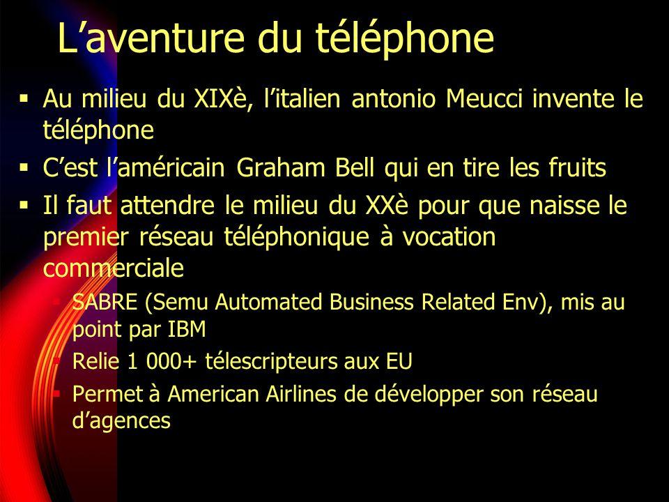 Laventure du téléphone Au milieu du XIXè, litalien antonio Meucci invente le téléphone Cest laméricain Graham Bell qui en tire les fruits Il faut attendre le milieu du XXè pour que naisse le premier réseau téléphonique à vocation commerciale SABRE (Semu Automated Business Related Env), mis au point par IBM Relie 1 000+ télescripteurs aux EU Permet à American Airlines de développer son réseau dagences