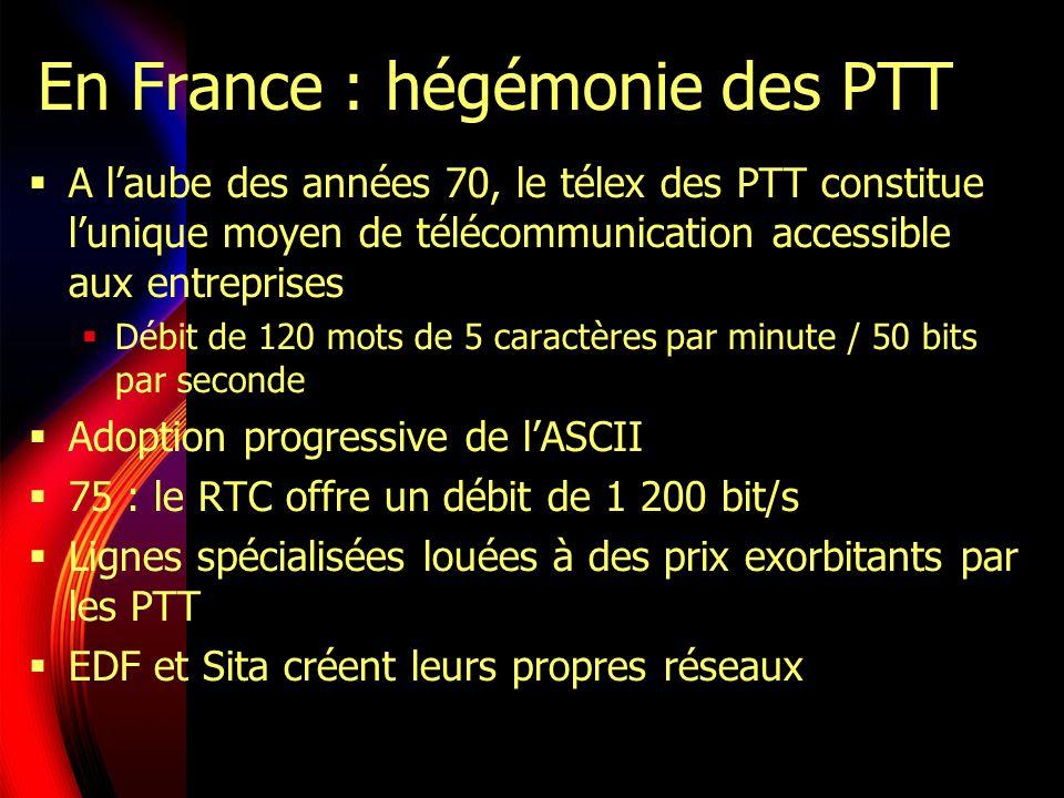 En France : hégémonie des PTT A laube des années 70, le télex des PTT constitue lunique moyen de télécommunication accessible aux entreprises Débit de 120 mots de 5 caractères par minute / 50 bits par seconde Adoption progressive de lASCII 75 : le RTC offre un débit de 1 200 bit/s Lignes spécialisées louées à des prix exorbitants par les PTT EDF et Sita créent leurs propres réseaux