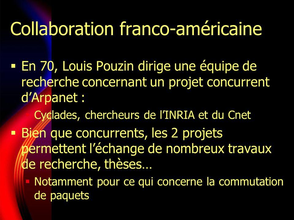 Collaboration franco-américaine En 70, Louis Pouzin dirige une équipe de recherche concernant un projet concurrent dArpanet : Cyclades, chercheurs de lINRIA et du Cnet Bien que concurrents, les 2 projets permettent léchange de nombreux travaux de recherche, thèses… Notamment pour ce qui concerne la commutation de paquets