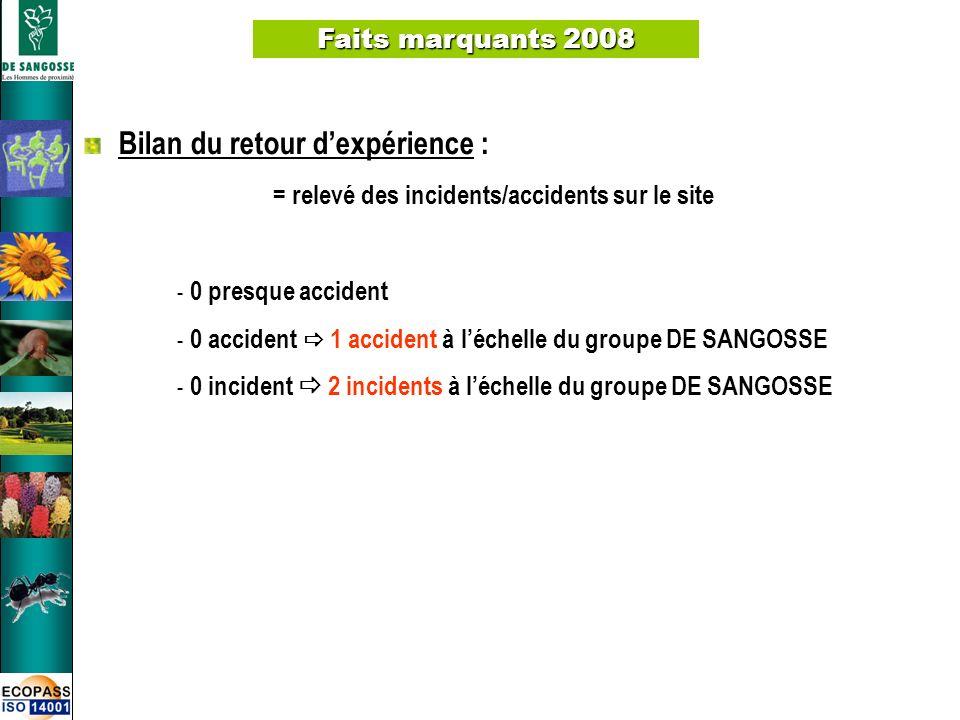 7 Faits marquants 2008 Bilan du retour dexpérience : = relevé des incidents/accidents sur le site - 0 presque accident - 0 accident 1 accident à léche