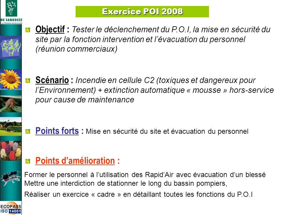 8 Exercice POI 2008 Objectif : Tester le déclenchement du P.O.I, la mise en sécurité du site par la fonction intervention et lévacuation du personnel